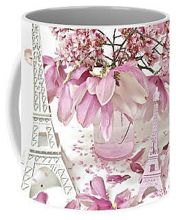 Coffee Mug featuring the photograph Paris Eiffel Tower Spring Magnolia Flower Blossoms - Paris Pink White Spring Blossoms  by Kathy Fornal