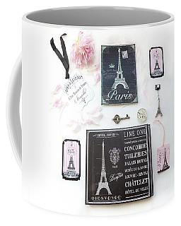 Coffee Mug featuring the photograph Paris Pink Black French Script Wall Decor Art, Paris Print Collection  - Parisian Pink Black Decor   by Kathy Fornal