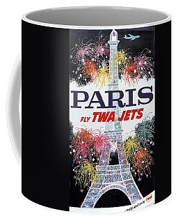 Paris - Twa Jets - Trans World Airlines - Eiffel Tower - Retro Travel Poster - Vintage Poster Coffee Mug