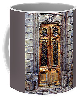 Coffee Mug featuring the painting Parisian Door No. 15 by Joey Agbayani