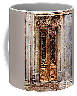 Coffee Mug featuring the painting Parisian Door No.7 by Joey Agbayani