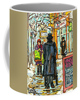 Coffee Mug featuring the painting Park Ave Barcolo Bistro Hasidic Man Baby Carriage Rialto Winter Scene Art Montreal Carole Spandau    by Carole Spandau