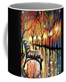 Coffee Mug featuring the digital art Park Bench by Darren Cannell