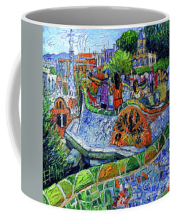 Park Guell Memories - Barcelona Impression Palette Knife Oil Painting Coffee Mug