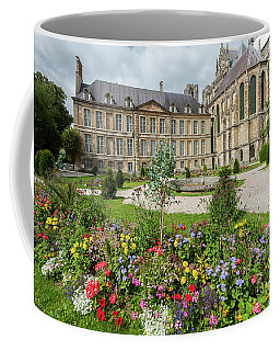 Park With Flowers Outside The Cathedral In Reims Coffee Mug