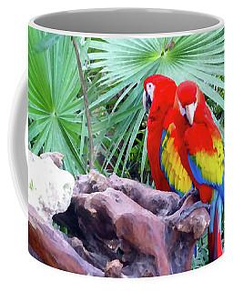 Coffee Mug featuring the digital art Parrots by Francesca Mackenney