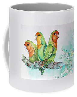 Parrots Trio Coffee Mug by Inese Poga