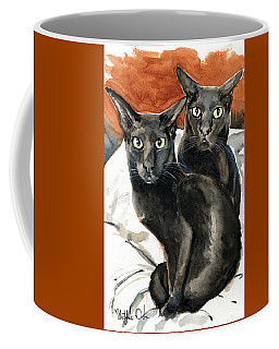 Coffee Mug featuring the painting Partners In Crime - Black Oriental Cat Painting by Dora Hathazi Mendes