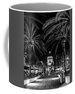 Coffee Mug featuring the photograph Pasadena City Hall After Dark In Black And White by Randall Nyhof