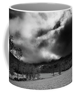 Passing Snow In North Carolina In Black And White Coffee Mug by Greg Mimbs
