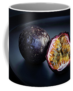 Passion Fruit On Black Plate Coffee Mug