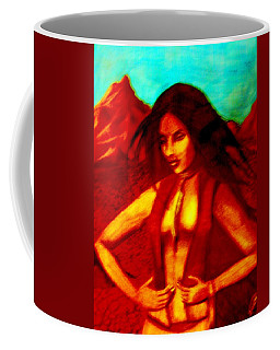 Coffee Mug featuring the mixed media Passion In The Desert by Michelle Dallocchio