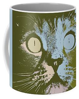 Coffee Mug featuring the digital art Pastel Cat Pop Art by Shelli Fitzpatrick