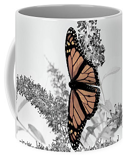 Coffee Mug featuring the photograph Pastel Monarch On Black And White by Lara Ellis