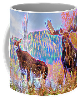 Pastel Moose Couple Coffee Mug