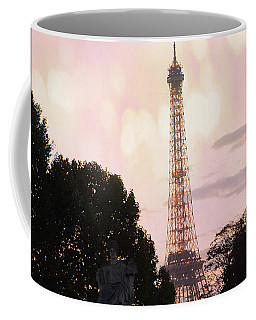 Coffee Mug featuring the photograph Pastel Paris Eiffel Tower Sunset Bokeh Lights - Romantic Eiffel Tower Pink Pastel Home Decor by Kathy Fornal
