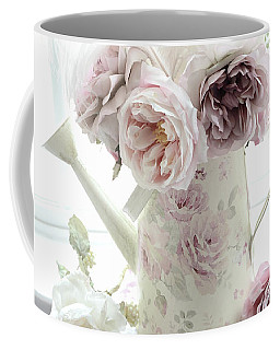 Coffee Mug featuring the photograph Pastel Romantic Shabby Chic Pink Flowers In Watering Can - Romantic Cottage Floral Home Decor  by Kathy Fornal