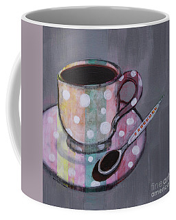 Coffee Mug featuring the painting Pastel Stripes Polka Dotted Coffee Cup by Robin Maria Pedrero