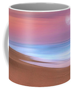 Coffee Mug featuring the photograph Pastel Sunset And Moonrise Over Hutchinson Island Beach, Florida. by Justin Kelefas