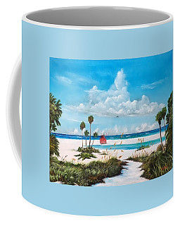 Path On Siesta Key To The Red Lifeguard Shack Coffee Mug