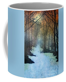 Path Through The Woods In Winter At Sunset Coffee Mug