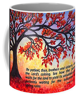Coffee Mug featuring the painting Patient Autumn Tree by Sonya Nancy Capling-Bacle