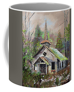 Coffee Mug featuring the painting Patiently Waiting - Church Abandoned-signed by Jan Dappen