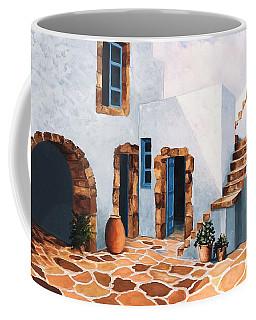 Patio In Patmos, Greece-prints From Original Oil Painting Coffee Mug