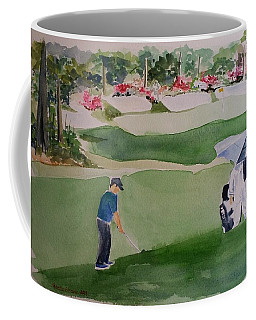 Patrick Reed At 13th Hole In Augusta Masters Coffee Mug