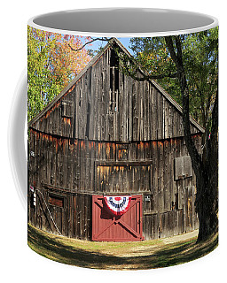 Coffee Mug featuring the photograph Patriotic Barn by Nancy De Flon