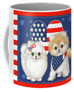 Patriotic Pomeranians Coffee Mug