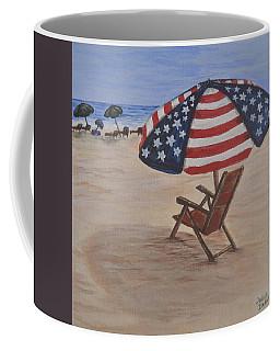 Patriotic Umbrella Coffee Mug by Debbie Baker