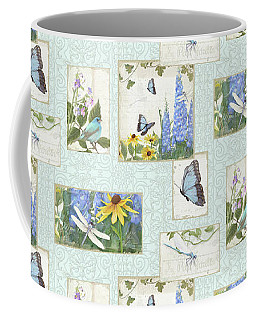 Coffee Mug featuring the painting Pattern Butterflies Dragonflies Birds And Blue And Yellow Floral by Audrey Jeanne Roberts