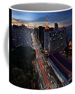 Paulista Avenue And Masp At Dusk - Sao Paulo - Brazil Coffee Mug