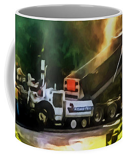 Pavement Machine Laying Fresh Asphalt  On Top Of The Gravel Base During Highway Construction Coffee Mug by Lanjee Chee