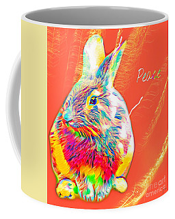 Coffee Mug featuring the mixed media Peace Bunny by Jessica Eli