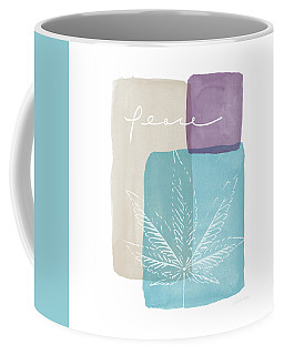 Coffee Mug featuring the mixed media Peace Cannabis Leaf Watercolor- Art By Linda Woods by Linda Woods