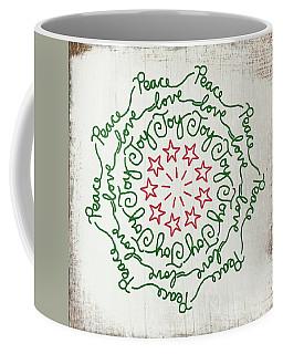 Peace Love Joy Wreath- Art By Linda Woods Coffee Mug