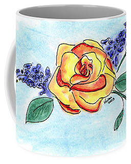 Coffee Mug featuring the drawing Peace Rose by Vonda Lawson-Rosa