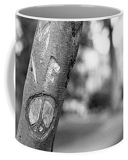 Peace Sign Carving, 1975 Coffee Mug