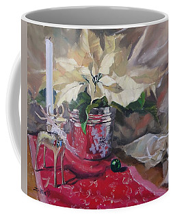 Coffee Mug featuring the painting Peace To All Three by Laura Lee Zanghetti