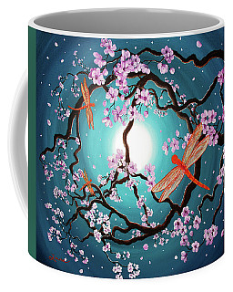 Peace Tree With Orange Dragonflies Coffee Mug by Laura Iverson