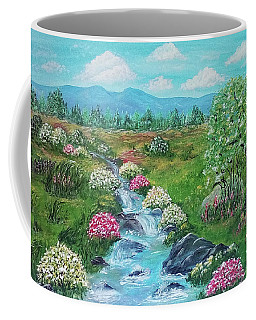 Coffee Mug featuring the painting Peaceful Meadow by Sonya Nancy Capling-Bacle