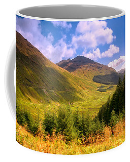 Peaceful Sunny Day In Mountains. Rest And Be Thankful. Scotland Coffee Mug