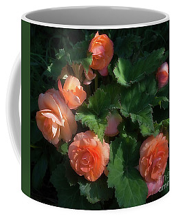 Coffee Mug featuring the photograph Peach Begonia by Ann Jacobson