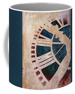 Coffee Mug featuring the photograph Peach Pink And Night Blue Clock Face by Marianna Mills