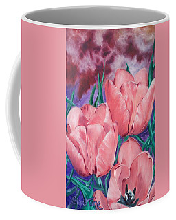 Perennially Perfect  Peach Pink Tulips Coffee Mug