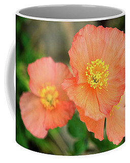 Peach Poppies Coffee Mug by Sally Weigand