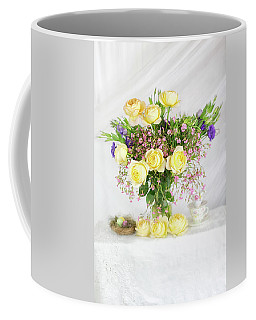 Peachy Yellow Roses And Lisianthus Bouquet Coffee Mug