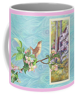 Peacock And Cherry Blossom With Wren Coffee Mug
